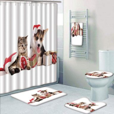 Bathroom 5 Piece Set Shower Curtain 3D Print