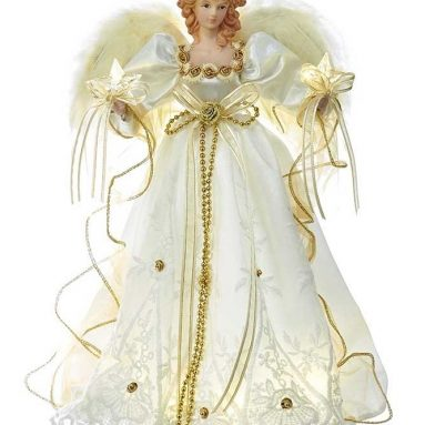 Battery-Operated Ivory & Gold LED Angel Treetop