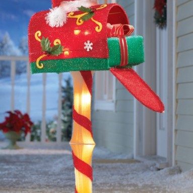 Candy Cane Lighted Santa Mailbox