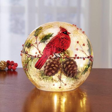 Cardinal Lighted Ball Christmas Tabletop Decoration
