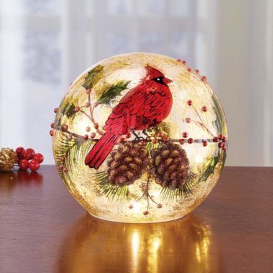 Cardinal Lighted Ball Christmas Tabletop Decoration