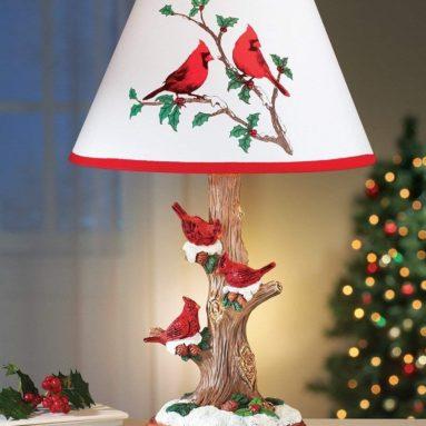 Cardinal Table Lamp Christmas Decoration
