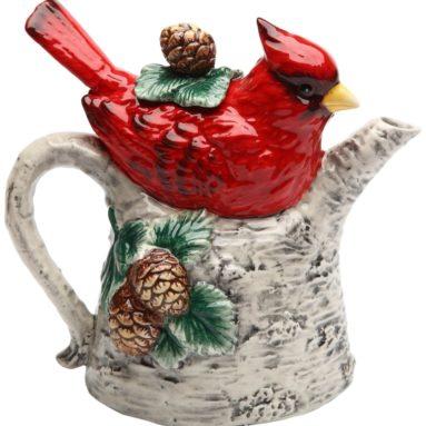 Cardinal on Birch Tree Ceramic Teapot
