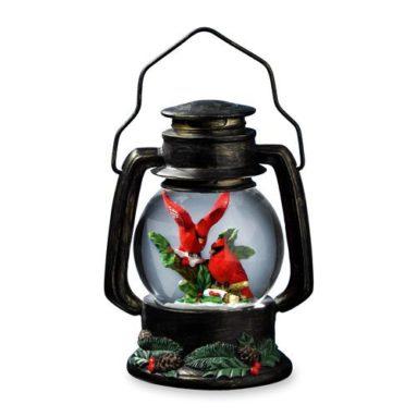 Cardinals Antique Lantern Snow Globe