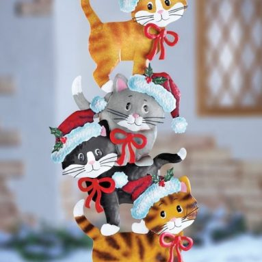 Cats Whimsical Cute Festive Metal Cat Wearing Santa Hats Christmas Outdoor Yard Decoration