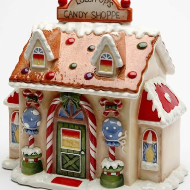 Ceramic Santa's Village Candy Jar