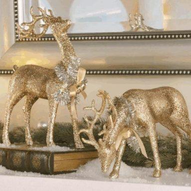 Champagne Glitter Deer Figurines