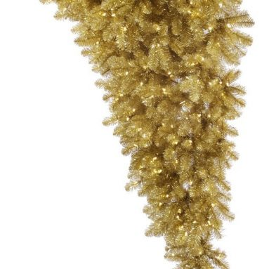 Champagne Half Upside Down Artificial Christmas Tree with 350 Warm White LED Lights