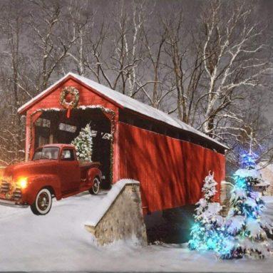 Christmas Canvas Print with LED and Fiber Optic Lights