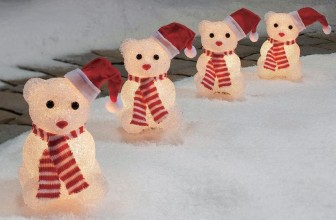 Christmas Crystalline Lighted Snow Bears Pathway Markers