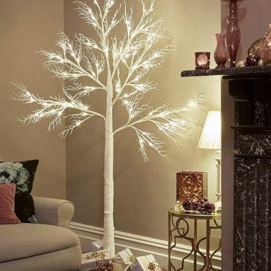 Christmas Deadwood White Twig Tree Pre Lit 120 LED with Warm White Lights