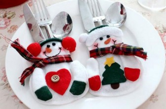 Christmas Decorations Snowman Silver Flatware Holder Pockets Table Dinner Home Decoration