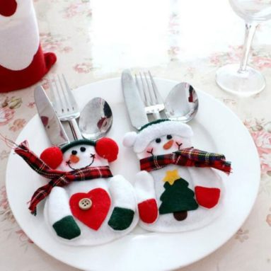 Christmas Decorations Snowman Silver Flatware Holder Pockets Table