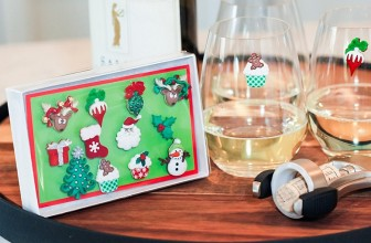Christmas Holiday Magnetic Wine Glass Charms & Cocktail Markers