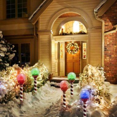 Christmas Lights Solar Powered Crackeled Pathway Lights