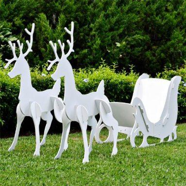 Christmas Outdoor Santa Sleigh and 2 Reindeer Set