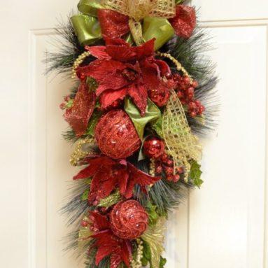 Christmas Poinsettia Door Swag