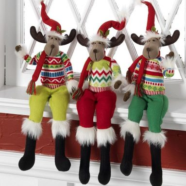 Christmas Posable Moose with Hat and Sweater