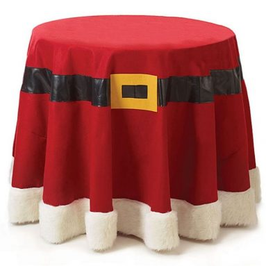 Christmas Santa Belt Red Felt Fabric Tablecloth 96 Round