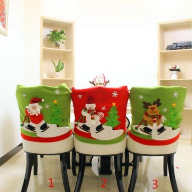Christmas Santa Claus Chair Back Cover Snowman Elk Ski Dinner Table Party Decor