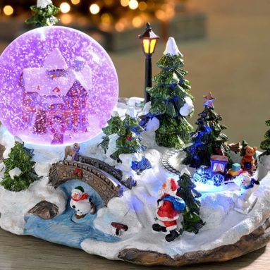 Christmas Star 10″ Snow Globe And Rotating Train