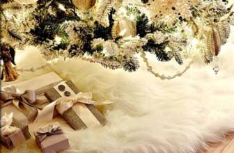 Christmas Tree Skirt Plush Shaggy Faux Fur