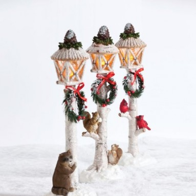 Christmas Victorian Lightpost with LED lights Holiday Mantel Decor