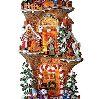 Christmas Village – Santa's Workshop at the North Pole Illuminated Holiday Lights Statue