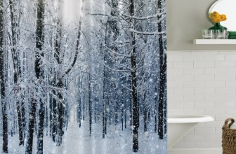 Christmas Winter Snow on Trees in a Forest Fabric Shower Curtain