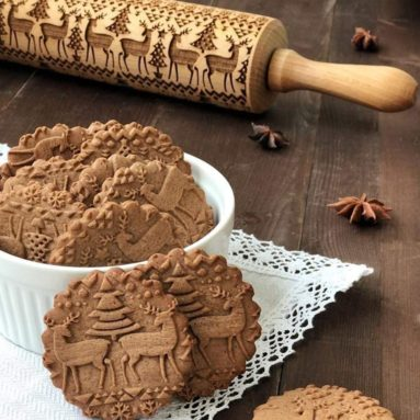 Christmas Wooden Rolling Pins Engraved Embossed Deep Printing