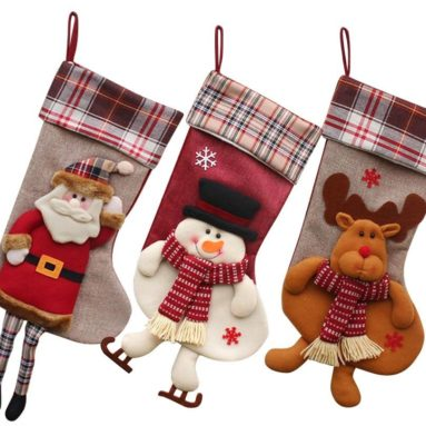 Classic Christmas Stockings 18″ Cute Santa's Toys Stockings Plush 3D