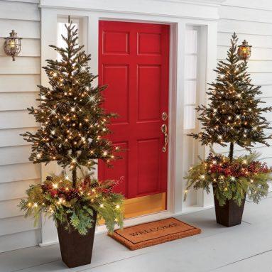 The Estate Door Prelit Christmas Tree Planter