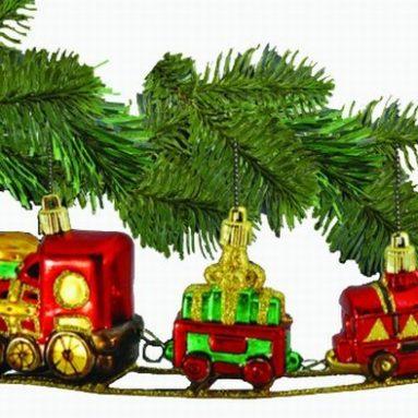 Barcana 3-Inch Shatterproof Train on Track, Christmas Ornament