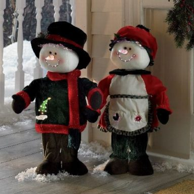 Christmas Indoor Decor Animated Snowman & Snowlady
