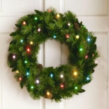 24″ Cordless LED Pre-Lit Christmas Wreath