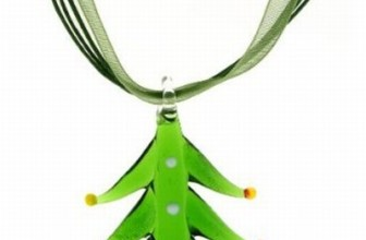 Blown Glass Christmas Tree Pendant & Ribbon Necklace