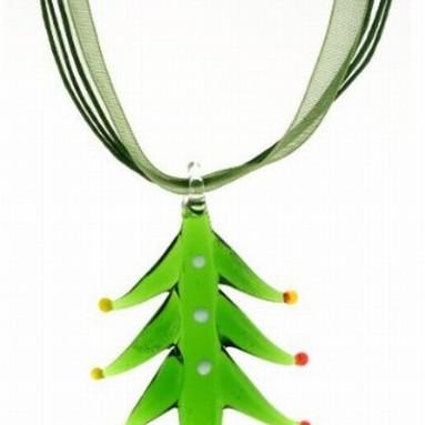 Blown Glass Christmas Tree Pendant & Ribbon Necklace
