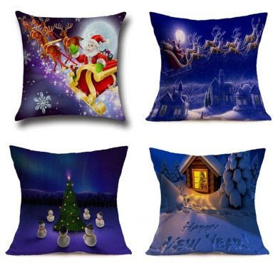 Cotton Linen Throw Pillow Case Christmas Santa Snowman