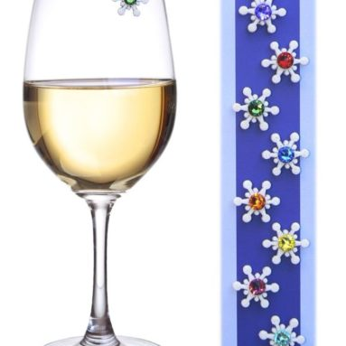 Crystal Snowflake Magnetic Wine Glass Charms & Markers