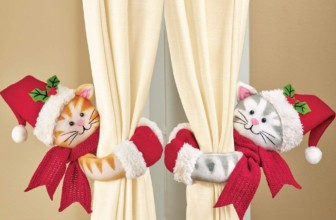 Cute Christmas Cats Curtain Tie Backs Set