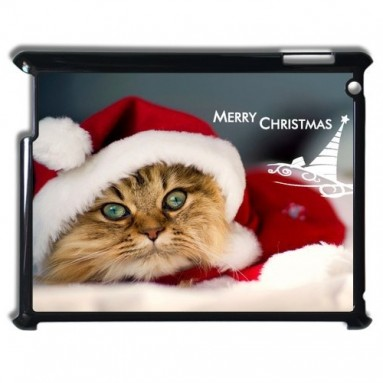 Cat with Christmas hat case iPad 2 3 4