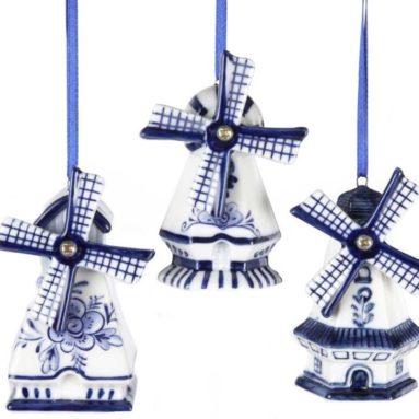 Delft Blue Windmill Ornaments
