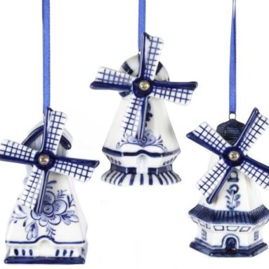 Delft Blue Windmill Ornaments