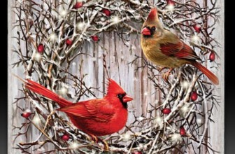 Dona Gelsinger Cardinal Songbird Art Wall Decor on Real Wood Lights Up