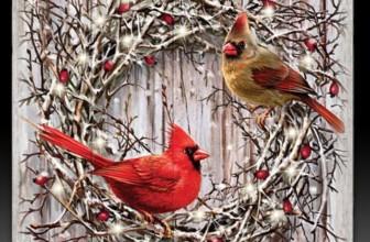 Dona Gelsinger Cardinal Songbird Art Wall Decor on Real Wood Lights Up