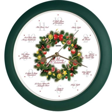 Elegant Collection 14-inch 12 Song of Carols of Christmas Wreath Wall Clock