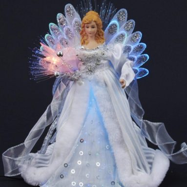 Elegant Silver and White LED Light Fiber Optic Angel Christmas Tree Topper