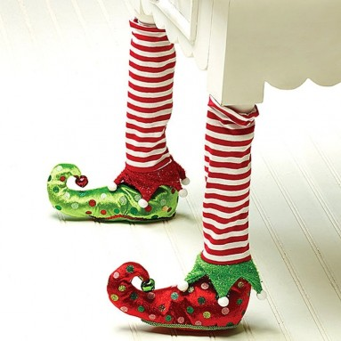 Elf Stockings and Slippers Christmas Chair Leg Covers