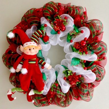Extra Large Elf Handmade Deco Mesh Christmas Wreath 28 Inch Diameter
