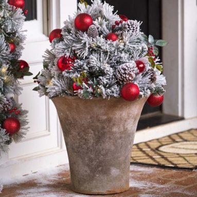 Fairfax Lighted Decorated Holiday Urn Filler